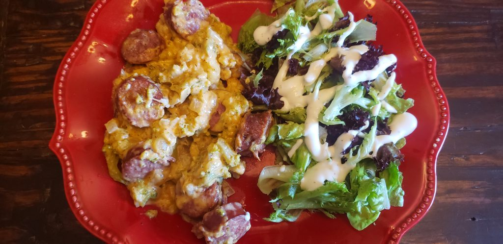 Low Carb Cheesy Sausage, Broccoli and Cauliflower Casserole